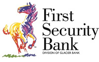 First Security Bank - Division of Glacier Bank multi-colored horse logo