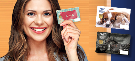 Photo of woman holding a custom debit card
